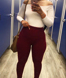 The Belly Tamer Leggings (In Burgundy) Fits Up to Plus