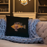 Lionfish Eliminator Gyotaku Black Pillow