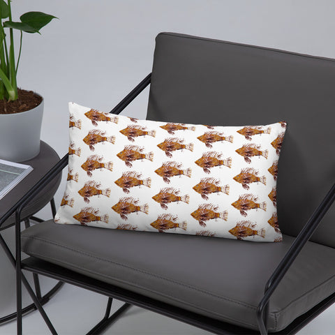 Lionfish Eliminator White Gyotaku Patterned Pillow Port Facing