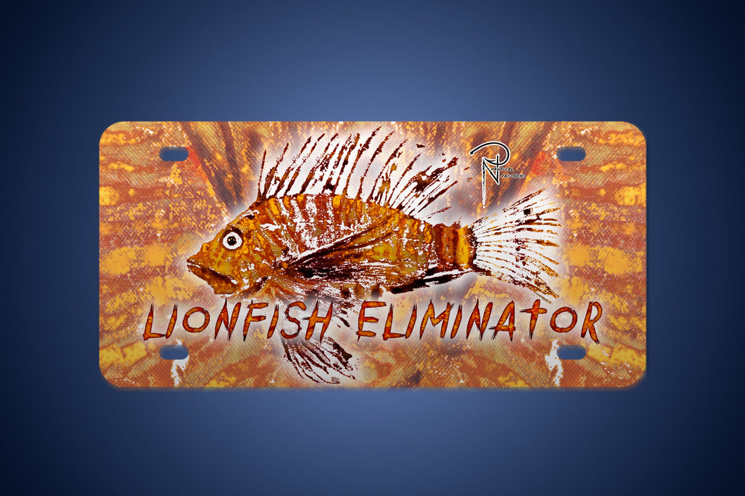 Lionfish Eliminator Metal License Plate