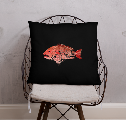 Snapper Slayer Black Gyotaku Pillow Port Facing