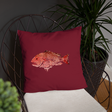 Snapper Slayer Decorative Gyotaku Red Fish Print Pillow Port Facing