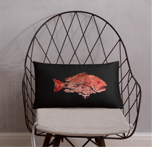 Snapper Slayer Decorative Gyotaku Black Fish Print Pillow Starboard Facing