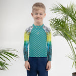 """Start Wearing Tuna"" Deep Aqua Kids Rash Guard"