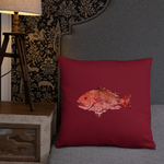 Snapper Slayer Red Gyotaku Pillow Port Facing