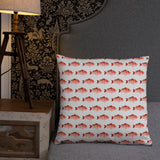 Snapper Slayer White Gyotaku Patterned Pillow Starboard Facing