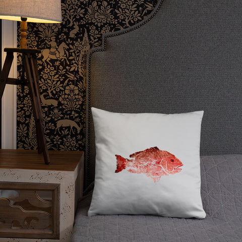 Snapper Slayer White Gyotaku Pillow Starboard Facing