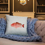 Snapper Slayer White Gyotaku Pillow Port Facing