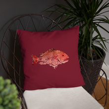 Snapper Slayer Decorative Gyotaku Red Fish Print Pillow Starboard Facing