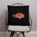 Snapper Slayer Black Gyotaku Pillow Starboard Facing