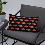 Snapper Slayer Black Gyotaku Patterned Pillow