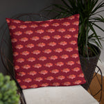 Snapper Slayer Red Gyotaku Patterned Pillow Starboard Facing