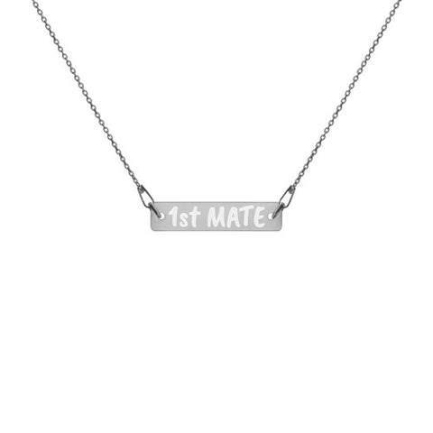 "Engraved Silver Bar Chain Necklace ""1st MATE"""