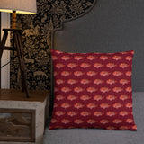 Snapper Slayer Red Gyotaku Patterned Pillow Port Facing