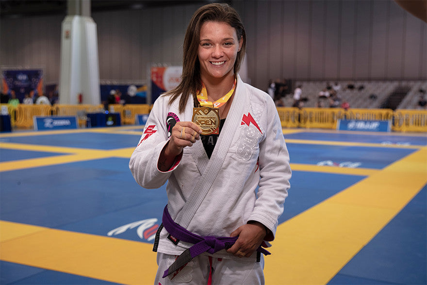 Maggie Grindatti of Fight Sports champion womens purple belt medium-heavy