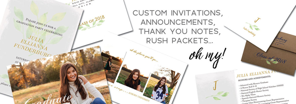 Custom grad invites, announcemets, thank you notes and logos