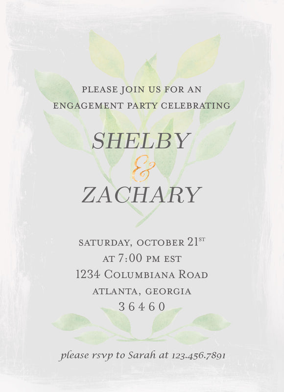 Green and Grey Watercolor Engagement Party