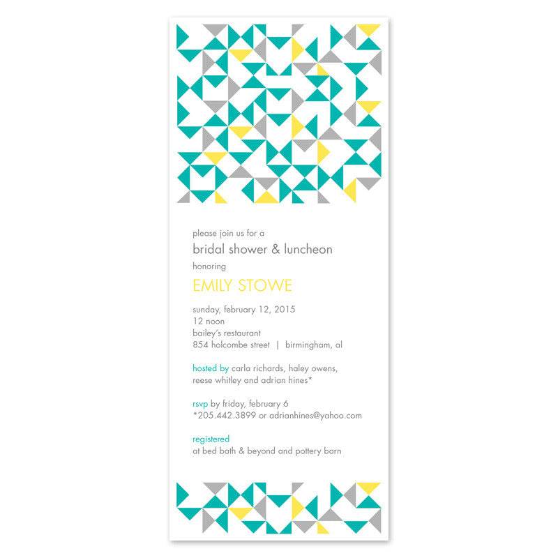 geometric bridal shower invitations