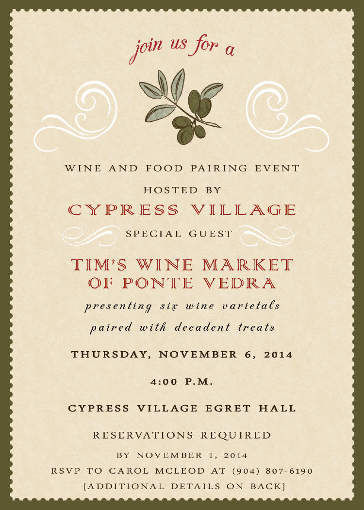 wine and dine event invitation