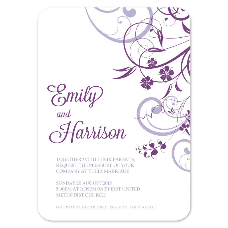 simple modern floral wedding invitation