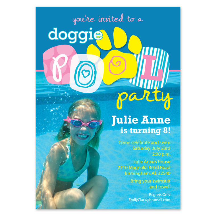 Creative Pool Party Photo Invitations
