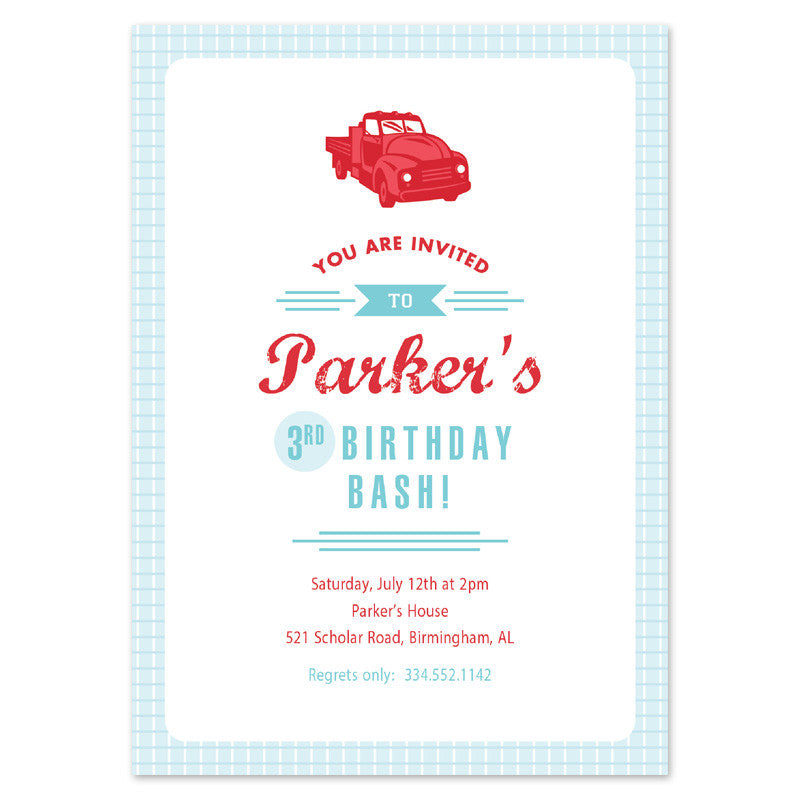 vintage truck birthday invitation