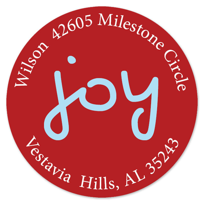 red blue joy Labels (set of 20)