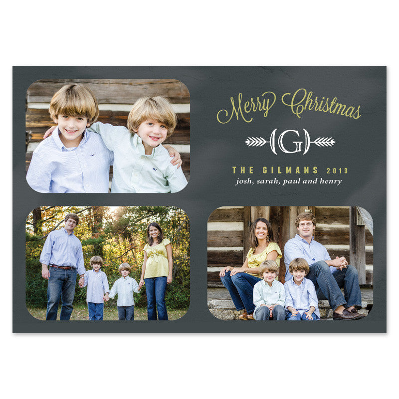 chalkboard monogram christmas cards