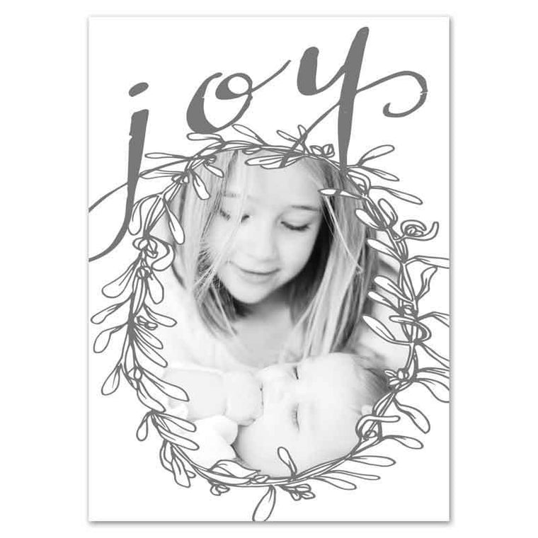 joy wreath christmas card birth announcement combo