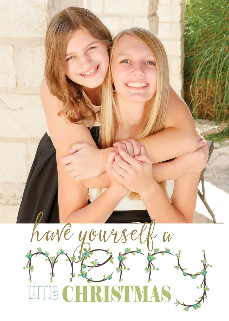 floral lettering unique christmas photo card