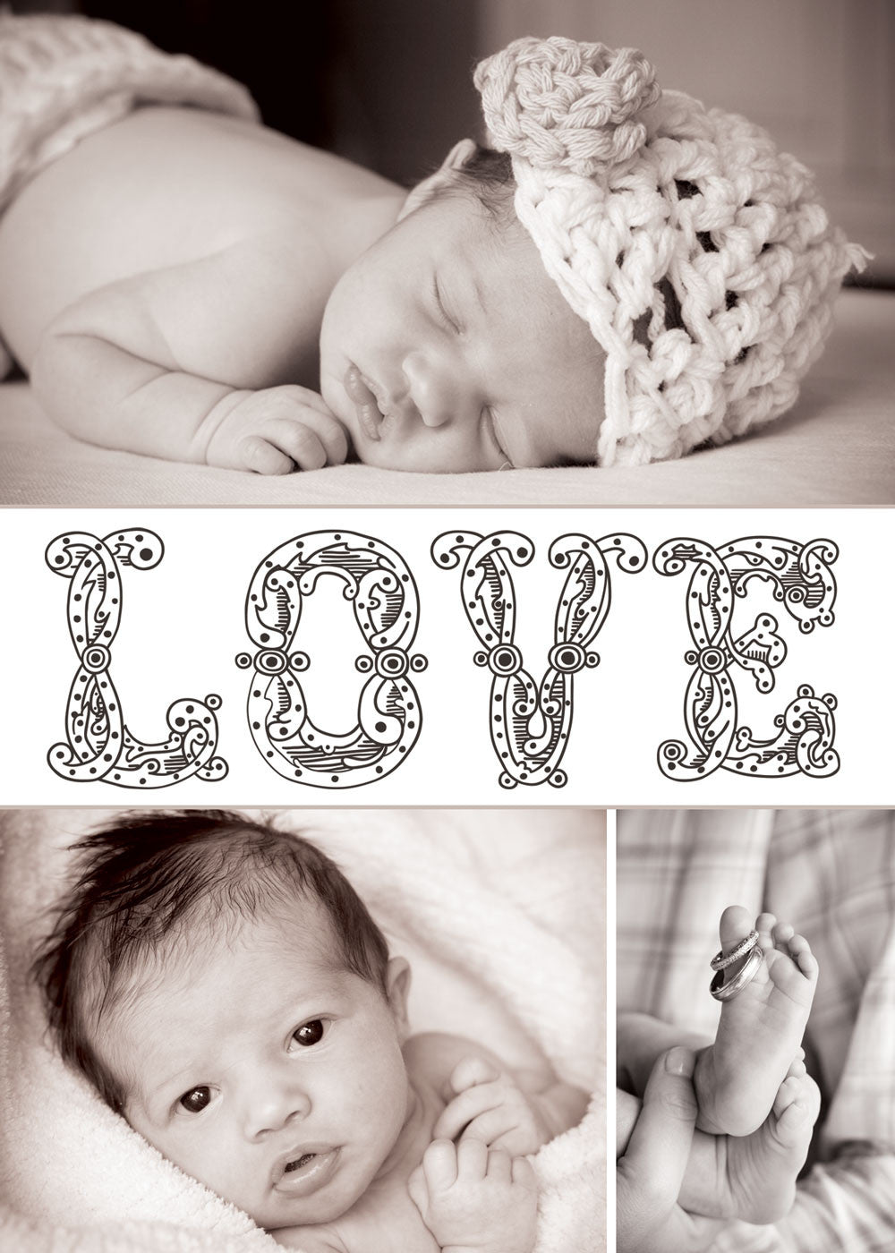 Newborn Announcement Multiple Photo