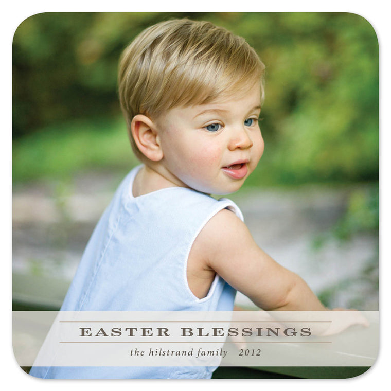 square rounded corners Easter photo card