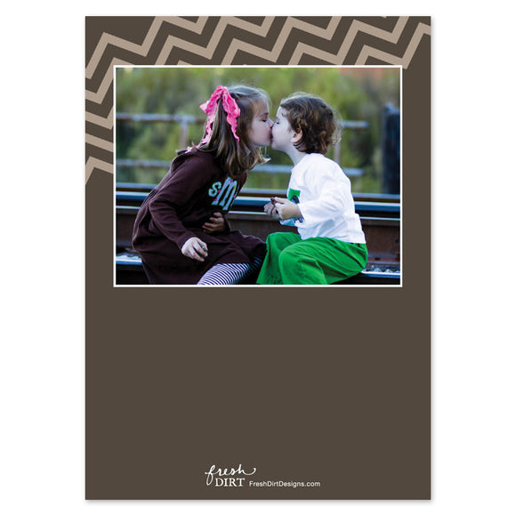 Grey chevron spring photo card