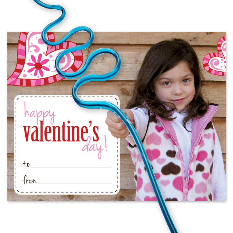 valentine card with crazy straw