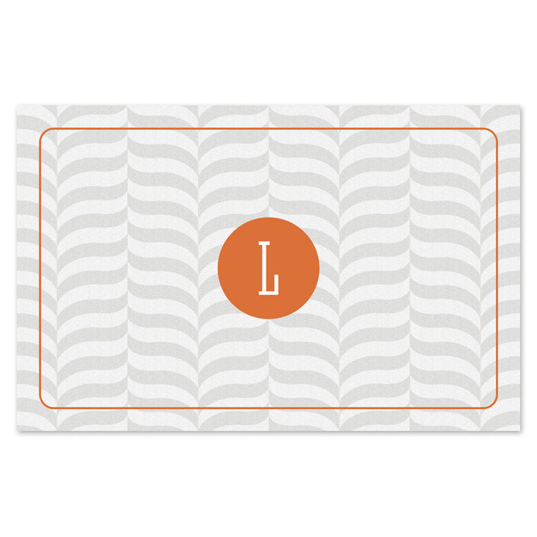 grey chevron monogrammed placemats