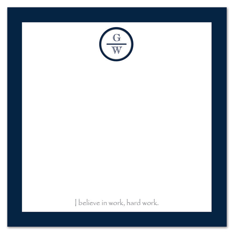 Navy Border Monogram Notepad