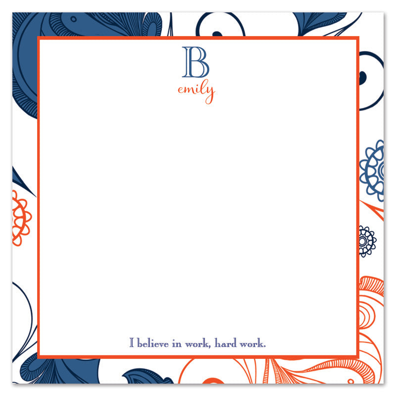 Navy and Orange Scroll Border Notepad