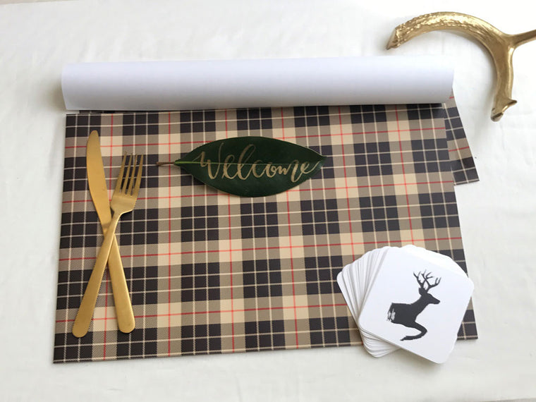 burberry plaid holiday placemats and coasters