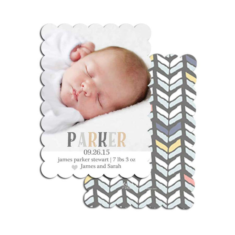 Neutral Color Block Birth Announcement