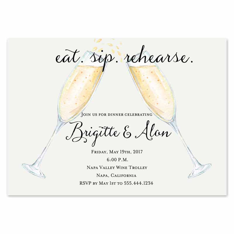 Eat, Sip Rehearse Dinner Invitation