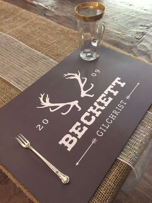 Personalized Antler Logo Placemats