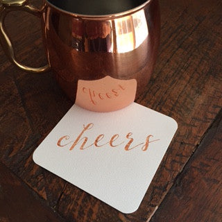 Cheers rose gold lettering