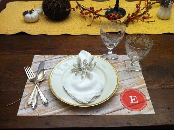 Monogrammed Rustic Woodgrain Placemats