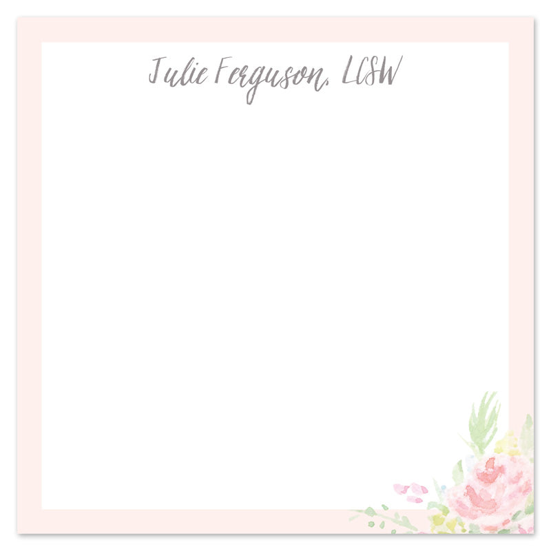Blush and Floral Watercolor Monogram Notepad