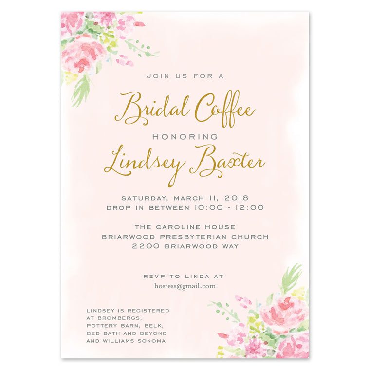 Blush and Gold Watercolor Floral Invitation