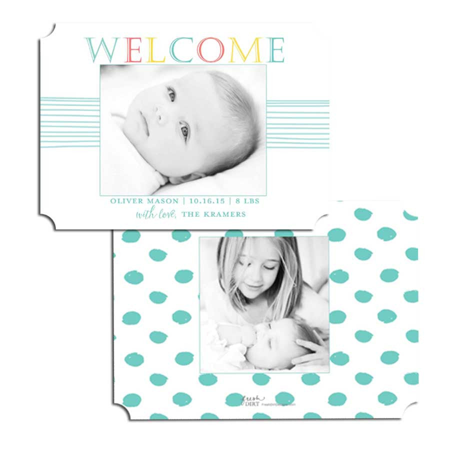 Welcome color block birth announcement