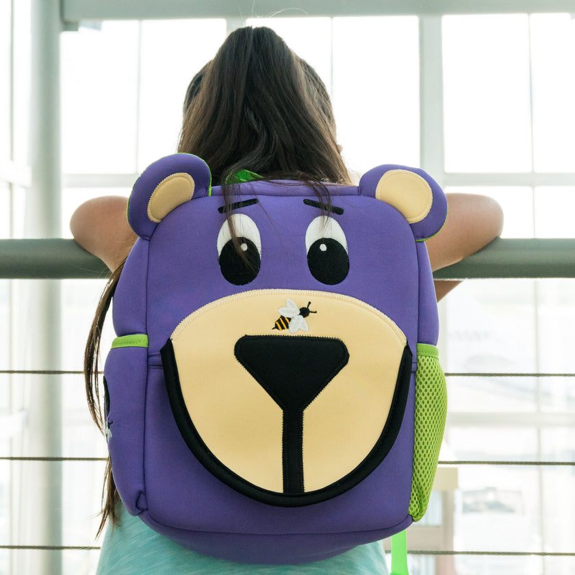Booski Bear Toddler Backpack, Purple Booski Bear, Washable