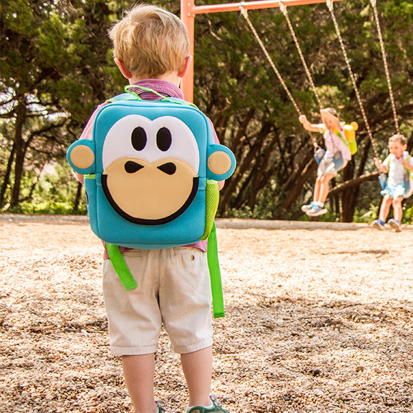 Nay-Nay Monkey Toddler Animal Backpack, Blue, washable