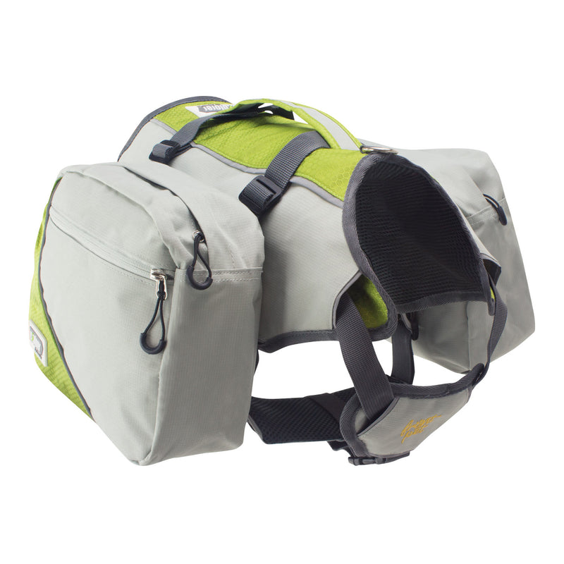 Angled view of dog harness backpack with saddle bags