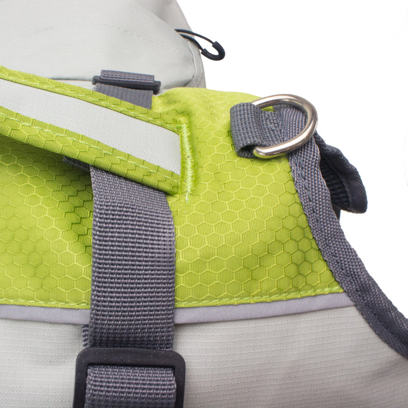 Zoomed top angled view showing d-ring, carry handle, adjustable strap, and illuminating material